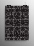 Vertical Poster A4 Puzzle Pieces. Black Puzzles. Stock Images
