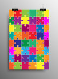 Vertical Poster A4 Puzzle Pieces. Color Puzzles. Royalty Free Stock Photography