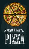 Vertical poster slice pizza Pepperoni, Hawaiian, Margherita, Mexican, Seafood, Capricciosa. Stock Photography
