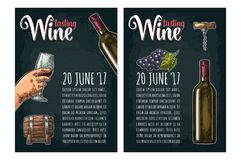 Vertical poster. Wine tasting lettering. Bottle, corkscrew, bunch of grape stock illustration