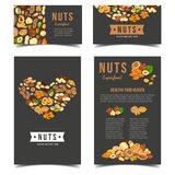 Vertical posters for vegan nut nutrition. Banners or badges, posters for vegetarian nuts food. Vegan almond and kernel of almond. Protein nutrition and farming stock illustration