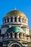 Vertical próximo acima da catedral ortodoxo do St. Alexander Nevski Fotografia de Stock