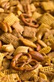 Vertical Pretzel Snack Mix Background. Close Up of cereal, pretzel, and nut snack mix background Royalty Free Stock Photography