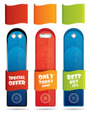 Vertical promotional banner / label set Stock Images