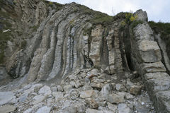 Vertical Purbeck Limestone Beds Royalty Free Stock Images