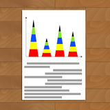 Vertical pyramidal statistics graph. Analytics financial graph and rate, vector illustration Royalty Free Stock Photo