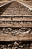Vertical Railroad Track in Fall Royalty Free Stock Image