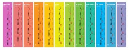 Vertical rainbow 2019 calendar vector, english language. 2019 Calendar of 12 Months. Vertical rainbow 2019 calendar vector, english language. 2019 Calendar of vector illustration