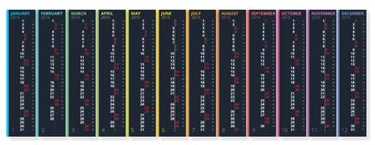 Vertical rainbow 2019 calendar vector, english language. 2019 Calendar of 12 Months. Vertical rainbow 2019 calendar vector, english language. 2019 Calendar of stock illustration