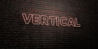 VERTICAL -Realistic Neon Sign on Brick Wall background - 3D rendered royalty free stock image Royalty Free Stock Images