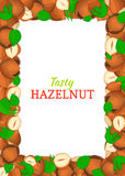 Vertical Rectangle colored frame composed of delicious of hazelnut. Vector card illustration. Filbert nuts frame, walnut fruit in the shell, whole, shelled Stock Photo