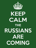 Vertical rectangular green-white motivation the russian are coming poster  Stock Photos