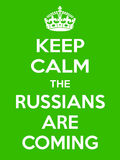 Vertical rectangular green-white motivation the russian are coming poster  Royalty Free Stock Photo