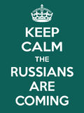 Vertical rectangular green-white motivation the russian are coming poster  Stock Image