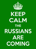 Vertical rectangular green-white motivation the russian are coming poster  Stock Photo