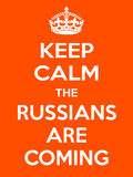Vertical rectangular orange-white motivation the russian are coming poster  Stock Image