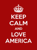 Vertical rectangular red-white motivation the love america poster based in vintage retro style  Stock Images