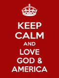 Vertical rectangular red-white motivation the love God and america poster  Royalty Free Stock Photo