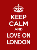Vertical rectangular red-white motivation the love on London poster based in vintage retro style Stock Photography