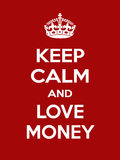 Vertical rectangular red-white motivation the love money poster based in vintage retro style Stock Images