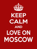 Vertical rectangular red-white motivation the love on Moscow poster based in vintage retro style Stock Photos