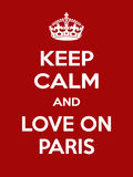 Vertical rectangular red-white motivation the love on Paris poster based in vintage retro style Stock Image