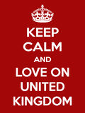 Vertical rectangular red-white motivation the love on United Kingdom poster based in vintage retro style Royalty Free Stock Photo