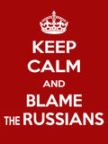 Vertical rectangular red-white motivation the russians blame poster based in vintage retro style Royalty Free Stock Photography