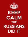 Vertical rectangular red-white motivation the russians did it poster based in vintage retro style stock illustration