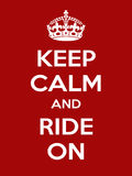 Vertical rectangular red-white motivation sport ride poster based in vintage retro style Keep clam and carry on Stock Photos