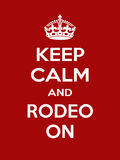 Vertical rectangular red-white motivation sport rodeo poster based in vintage retro style Keep clam and carry on Stock Image