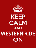 Vertical rectangular red-white motivation sport western ride poster based in vintage retro style Keep clam and carry on Stock Photos