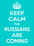 Vertical rectangular skyblue-white motivation the russian are coming poster Stock Image