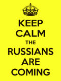 Vertical rectangular yellow-black motivation the russian are coming poster  Royalty Free Stock Image