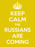 Vertical rectangular yellow-white motivation the russian are coming poster  Stock Images