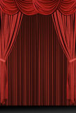 Vertical Red Draped Stage stock photo