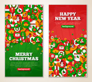Vertical red and green New Year banners Royalty Free Stock Images