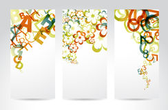 Vertical Retro Banners. Vertical Banners with colorful rainbow numbers, letters, flowers Stock Images