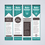 4 vertical retro banners on white background. Useful for advertising or web design. Stock Images
