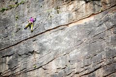 Vertical rock climbing Stock Photography