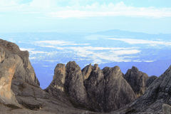Vertical rocks view from summit of Mount Kinabalu, Sabah Malaysia Stock Photos