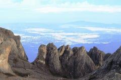 Vertical rocks view from summit of Mount Kinabalu, Sabah Malaysia Stock Photos