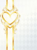 Vertical rococo wedding banner with heart emblem Royalty Free Stock Photo