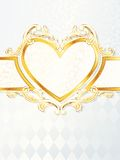 Vertical rococo wedding banner with heart emblem Stock Photo