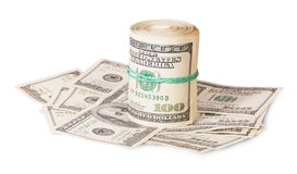 Vertical roll on the hundred dollar bills Royalty Free Stock Images