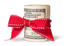 Vertical Roll Of One Hundred Dollar Bills Tied With Red Ribbon Stock Images