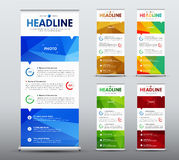Vertical roll up banner desig  with abstract  blue elements. Vertical roll up banner design. A business brochure template with abstract polygonal blue elements Stock Image