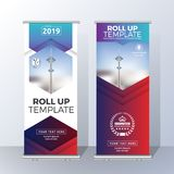 Vertical Roll Up Banner Template Design for Announce and Adverti Stock Images