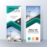 Vertical Roll Up Banner Template Design for Announce and Adverti Royalty Free Stock Images
