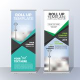 Vertical Roll Up Banner Template Design for Announce and Adverti Royalty Free Stock Photography